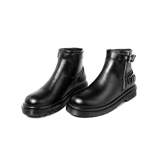 Women Simple Botas Martin Transpirable e Wind Grueso de Fondo black Tacon Cabeza El Nuevo 's bajo AJUNR British otoño es Redonda Boots Estilo Invierno Short RwzPzq
