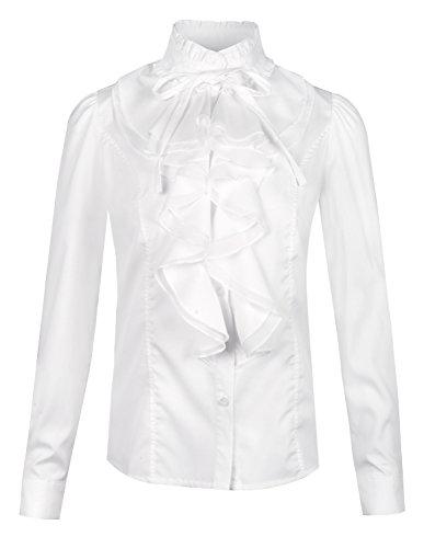 Collar Stand Ruffle Shirt (Women's Stand Collar Long Sleeve Ruffle Shirt Blouse Tops White,US 0)