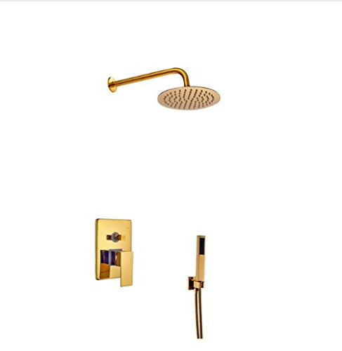 Gowe Luxury Golden Polish Shower Set Bathroom Brass Shower Faucet 2-Way Water Outlet Tap Mixer Faucet 0