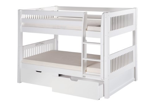 Camaflexi Mission Style Solid Wood Low Bunk Bed with Drawers, Twin-Over-Twin, Side Attached Ladder, White