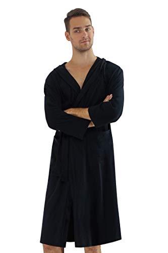 HOME WAY Men's Cotton Hooded Bathrobe Black Size L ()