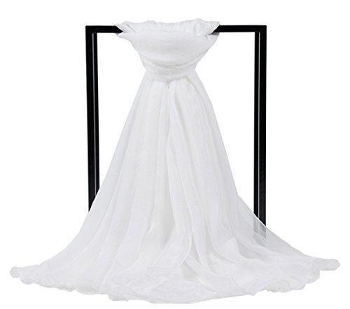 DreamLily Women's Extra Large Chiffon Bikini Beach Pareo Wrap Swimwear Scarf Silk Shawls SW-02 (White)