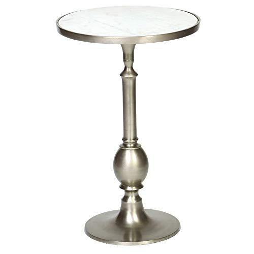 Turned Metal Egg Table in Pewter Finish with Inset White Granite