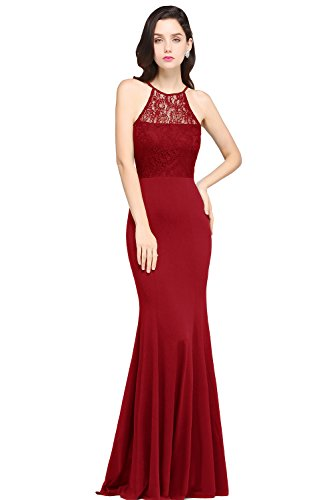 Babyonlinedress Seeveless Formal Mermaid Evening Gowns,Red,6