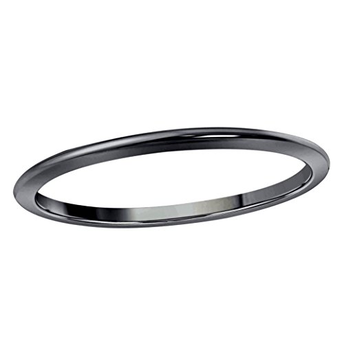 Star Retail Black Rhodium Plated Wedding Band Womens 1MM Dome High Polished Plain Anniversary Ring
