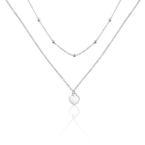 PEIMKO Dainty Non Tarnish Sterling Silver Rosary Double Layered Choker Necklace for Women, Love Heart Pendant Bead Necklaces Gift for Women ()