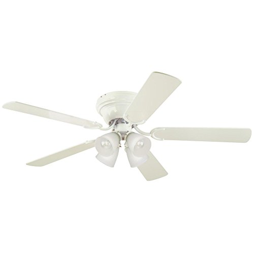 Westinghouse Lighting 7216400 Contempra IV Four-Light 52-Inch Reversible Five-Blade Indoor Ceiling Fan, White with Frosted Ribbed-Glass Shades, Includes Bulbs ()