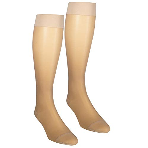 NuVein Sheer Compression Stockings Fashion Silky Sheen Denier Closed Toe Knee High, Beige, Large