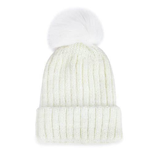 Women's Hairy Hats Winter Hats Fur Pompom Hat Twist Pattern Caps Skullies Add Velvet Fleece Inside Beanies