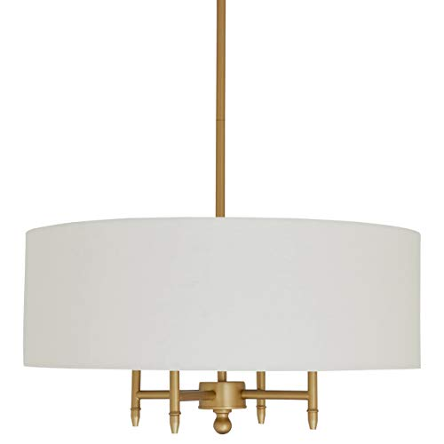 Stone & Beam Classic Ceiling Pendant Chandelier Fixture With White Drum Shade- 20 x 20 x 42 Inches, Antique Brass