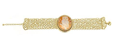 AMEDEO Bracelet Ovale Coquillage Marron Femme
