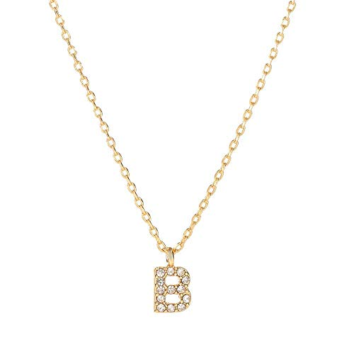 Youthway 18K Gold Plated Initial Choker Necklace for Women Cubic Zirconia Personalized Letter Pendant Necklace(b) -