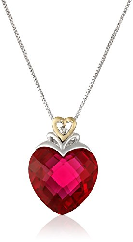 - Sterling Silver and 14k Yellow Gold Created Ruby Heart and Diamond-Accent Pendant Necklace, (.006 cttw, I-J Color, I2-I3 Clarity), 18