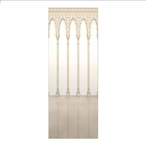 3D Decorative Film Privacy Window Film No Glue,Pillar Decor,Architecture Theme Wall with Graceful Columns and Arches Digital Image,Beige and White,for Home&Office