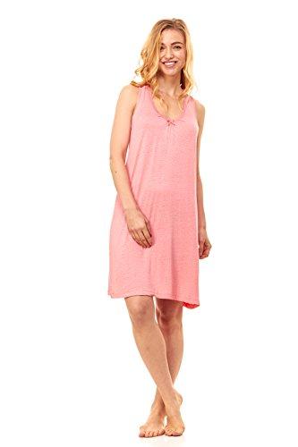 Rene Rofe Women's Sleepwear Chemise Nightgown Full Slip Lace Dress Lounge Wear Nightie (Small, Coral - Whens Valintines Day