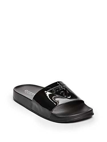 GUESS Factory Women's Stowe Logo Slide Sandals (Sandals Leather Guess Patent)