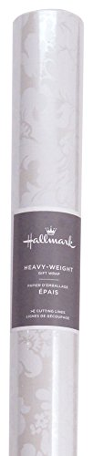 Hallmark Wrapping Paper with Cutting Lines (Damask Scroll Work, Single Roll, 27 Total Sq. -