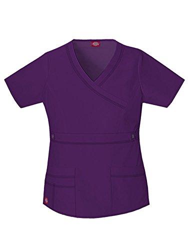 - Dickies Scrubs Women's Gen Flex Junior Fit Contrast Stitch Mock Wrap Shirt, Eggplant, Small