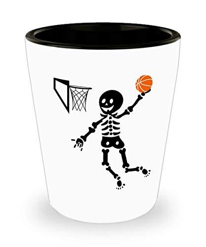 Basketball Shot Glass - Skeleton Basketball Skeleton Halloween Jigger Gift For Boy - 1.5 Oz Shot -