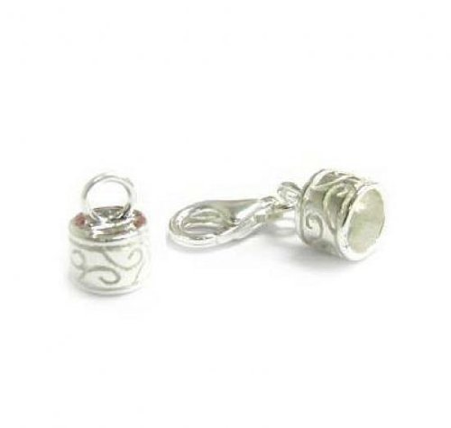 (1 set .925 Sterling Silver Bead 5mm Leather Cord End Cap With 11mm Lobster Clasp / Findings / Bright)