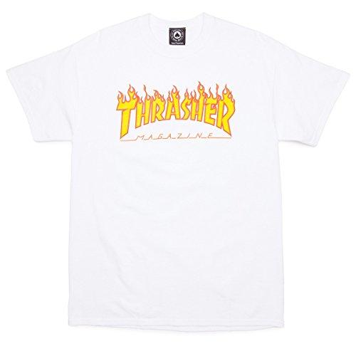 Sleeve T-shirt Flame Short (Thrasher Flame Logo Short Sleeve T-Shirt Medium White)