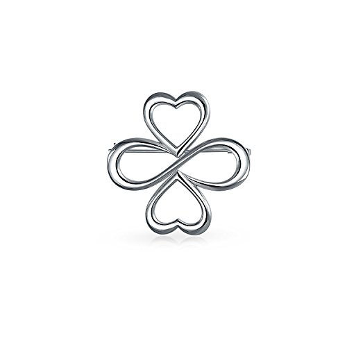 (Ayllu Inspirational BFF Symbol Heart Infinity Clover For Love Luck Unity Brooch Pin For Women 925 Sterling Silver)