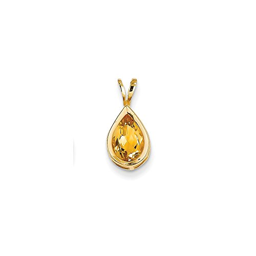 14k Yellow Gold 9x6mm Pear Citrine bezel Pendant Gem Wt- (Pear Citrine Pendant)