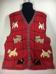 BellePointe Assorted Dogs Red Sweater Vest - Large by BellePointe