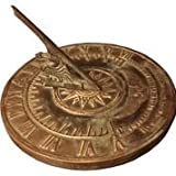Brass Colonial Sundial Solid Brass with Patina Finish 9 inch diameter