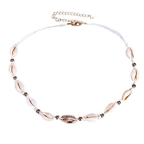 Usstore Women 1PC Shell Adjustable Necklace Bead Handmade Knot Bracelet Bohemian Beach Fashion Ocean Holiday Jewelry Gift (Gold, B(44+10cm))
