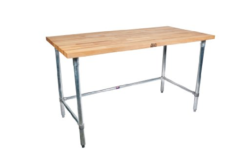 John Boos Work Table with Commercial Blended Maple Top, Stainless steel base, 48