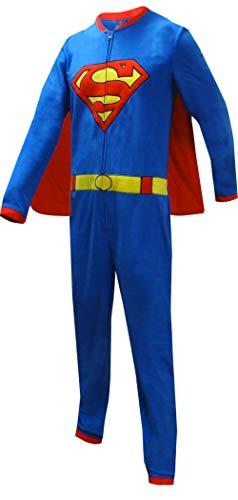 DC Comics Men's Superman One Piece Union Suit Pajama with Detachable Cape (Small) Blue]()