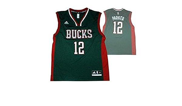 Adidas Milwaukee Bucks # 12 Jabari Parker Camiseta/NBA Réplica Jersey: Amazon.es: Deportes y aire libre