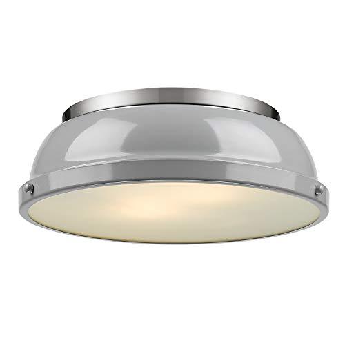 Golden Lighting 3602-14 PW-GY Duncan Flush Mount - Damp, Pewter