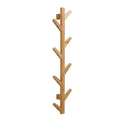 (Bamboo coat rack modern wall mounted tree Coat Rack 8 hooks for Hats towels hat rack scarves clothes handbags entryway Hanger bedroom bathroom Robe Racks - durable easy assembly)