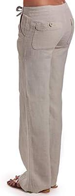Ma Croix Womens Linen Pants Drawstring Casual Lantern
