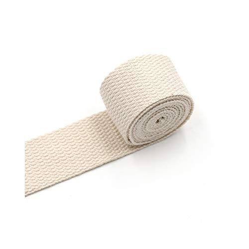 Aumey Cotton Webbing,Webbing Bag Handles, Bag Strap for Tote Bag Upholstery Webbing,78 Inch (Beige, Width=2 - Handles 2 Webbing