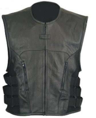 The Nekid Cow Men's Updated SWAT Team Leather Motorcycle Vest Soft Buffalo Leather(Black, Small) -GUARANTEED - Tactical Outlaw Black Biker Vests for Men - Law Enforcement Style Protective Side Adjustment Soft Leather Bonus 151 page Motorcycle & Restoration