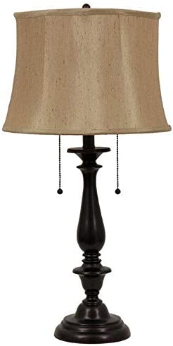 Allen Roth Woodbine 28 In Dark Oil Rubbed Bronze Electrical Outlet Table Lamp With Fabric Shade Amazon Com