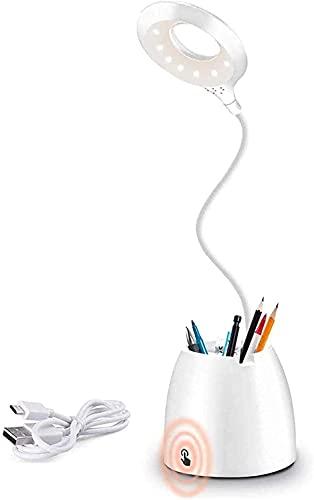 AMANKA Lampe de Bureau LED, Lampe de table LED dimmable , Lampe Liseuse USB Rechargeable avec capteur tactile 3 modes d'éclairage, Lampe de Lecture Protection des Yeux pour Charger Smartphone