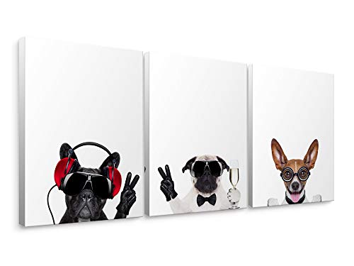 House Fine Art Canvas Print - Niwo Art-Happy Dogs, 3-Piece Animal Canvas Wall Art Home Decor,Framed Ready to Hang