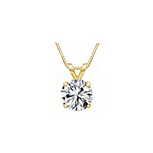 Solstice 14K Yellow Gold 4-Prong 4mm Round Solitaire Pendant Made with Swarovski Zirconia (1/4 cttw) ()