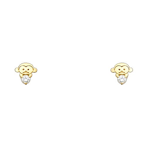 14k Yellow Gold Monkey Stud Earrings with Screw BackBasekt 14k Yellow Gold Monkey