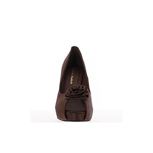 Escarpins bout ouvert grande taille marron satiné à talon de 13cm