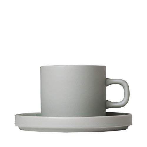 (blomus Coffee Cups with Saucers 200 ML / 7 Ounce - Set of 2 - Mirage Grey MIO)
