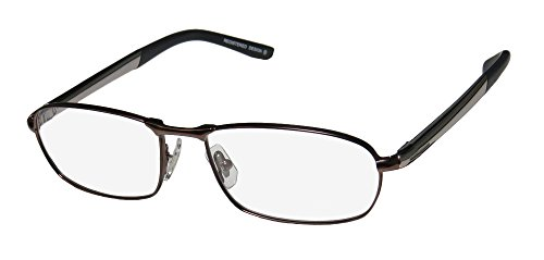 Oga 7020O Mens Designer Full-rim Flexible Hinges Eyeglasses/Glasses (55-17-140, Brown / - Temple Hinge Metal Spring