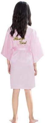 Sommer Kinder Robe Mädchen Kimono Kleid Knielang Dünne Nachtwäsche Kinder Nachtwäsche Bad Robe Baby Bademantel Kleid-pink2-S