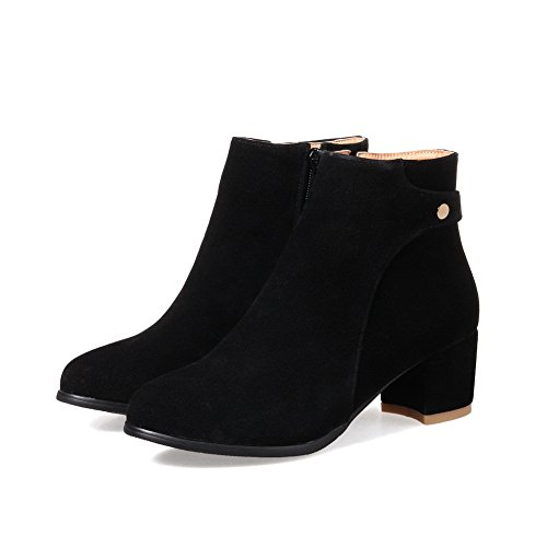 Pointed Resistant Boots Black Slip ABL10357 Casual Womens BalaMasa Suede Toe qwPtUE
