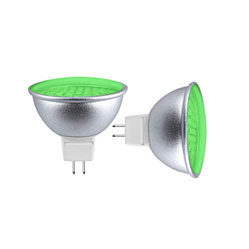 Aluxcia MR16 GU5.3 Green LED Bulb, AC/DC 12V/24V 5W GU5.3 Accent Light 120 Degree Beam Angle 50W Halogen Replacement Bulb for Landscape Recessed Spot Track Lighting, Green, 2-Pack