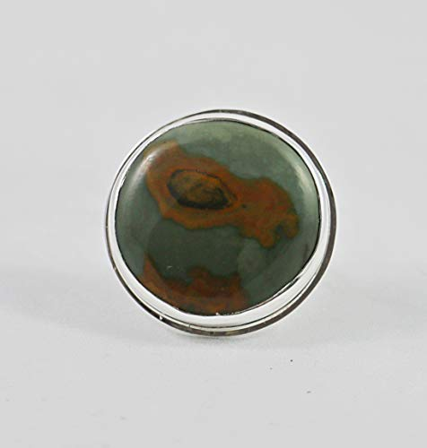Green Jasper Round Sterling Silver Adjustable Size - Ring Adjustable Jasper Silver Sterling